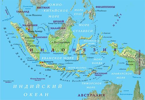 Карта мира где находится индонезия